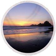 Sunset Gold Big Sur Round Beach Towel