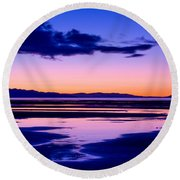 Sunset Great Salt Lake - Utah Round Beach Towel