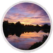 Sunset II At Japanese Garden Round Beach Towel