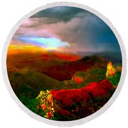 Sunset Imperial Peak North Grand Canyon Panorama Round Beach Towel