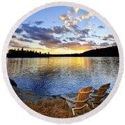 Sunset In Algonquin Park Round Beach Towel