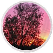 Sunset In April- Silute Lithuania Round Beach Towel