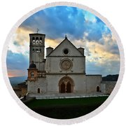 Sunset In Assisi Round Beach Towel