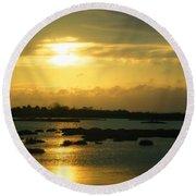 Sunset In Camargue - France Round Beach Towel