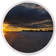 Sunset In Cape May Along The Beach Round Beach Towel