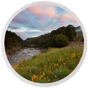 Sunset In Cobb Valley Of Kahurangi Np Of New Zealand Round Beach Towel
