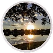 Sunset In Florida Round Beach Towel