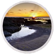 Sunset In Iceland Round Beach Towel