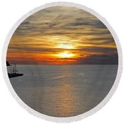 Sunset In Koper Round Beach Towel