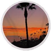 Sunset In Laguna Beach Round Beach Towel
