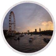 Sunset In London Round Beach Towel