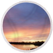 Sunset In Marathon Key Round Beach Towel