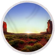 Sunset In Monument Valley Round Beach Towel