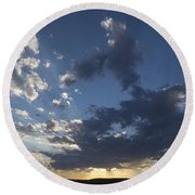 Sunset In New Mexico Round Beach Towel