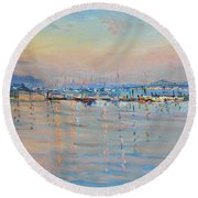 Sunset In Piermont Harbor Ny Round Beach Towel