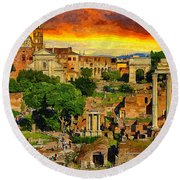 Sunset In Rome Round Beach Towel by Stefano Senise
