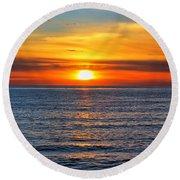 Sunset In San Clemente Round Beach Towel