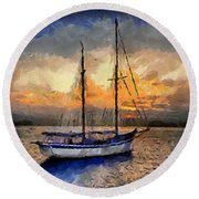 Sunset In The Bay Round Beach Towel