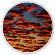 Sunset In The Clouds Round Beach Towel