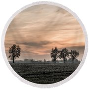Sunset In The Country - Orange Round Beach Towel
