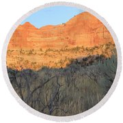 Sunset In The Desert Canyon 2 Round Beach Towel