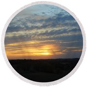 Sunset In The Distance Round Beach Towel