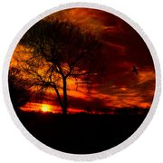 Sunset In The Field Round Beach Towel