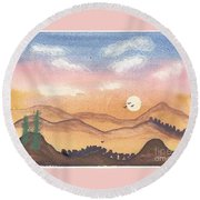 Sunset In The Hills Round Beach Towel