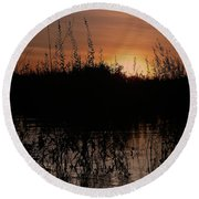 Sunset In The Pantenal Round Beach Towel