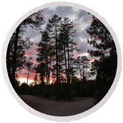 Sunset In The Pines Round Beach Towel