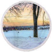 Sunset In The Snow Round Beach Towel
