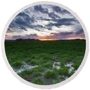 Sunset In The Swamp Round Beach Towel