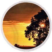 Sunset In The Valley Round Beach Towel
