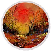 Sunset In The Wood Round Beach Towel