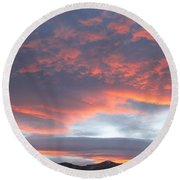 Sunset In Vail Colorado Round Beach Towel