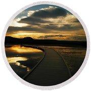 Sunset In Yellow Stone Round Beach Towel