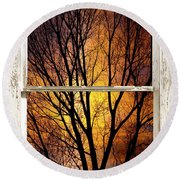 Sunset Into The Night Window View 3 Round Beach Towel