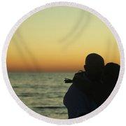 Sunset Kiss Round Beach Towel