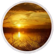 Sunset Lake Galena Round Beach Towel