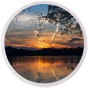 Sunset Lake Horicon Lakehurst New Jersey Round Beach Towel