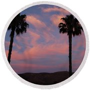 Sunset Landscape Xi Round Beach Towel