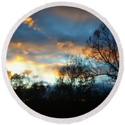 Sunset - Late Fall Round Beach Towel