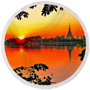 Sunset Leaves Round Beach Towel