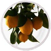 Sunset Lemons Round Beach Towel