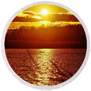 Sunset Love At Crosswinds Round Beach Towel