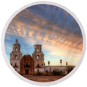 Sunset Majesty Mission San Xavier Del Bac Round Beach Towel