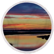 Sunset Marsh Round Beach Towel