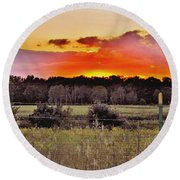 Sunset Meadow Round Beach Towel