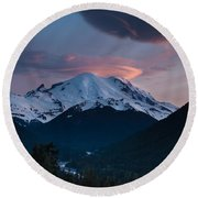 Sunset Mount Rainier Round Beach Towel