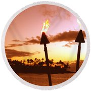 Sunset Napili Maui Hawaii Round Beach Towel
